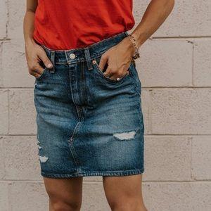 Levi's High Rise Distressed Denim Mini Skirt